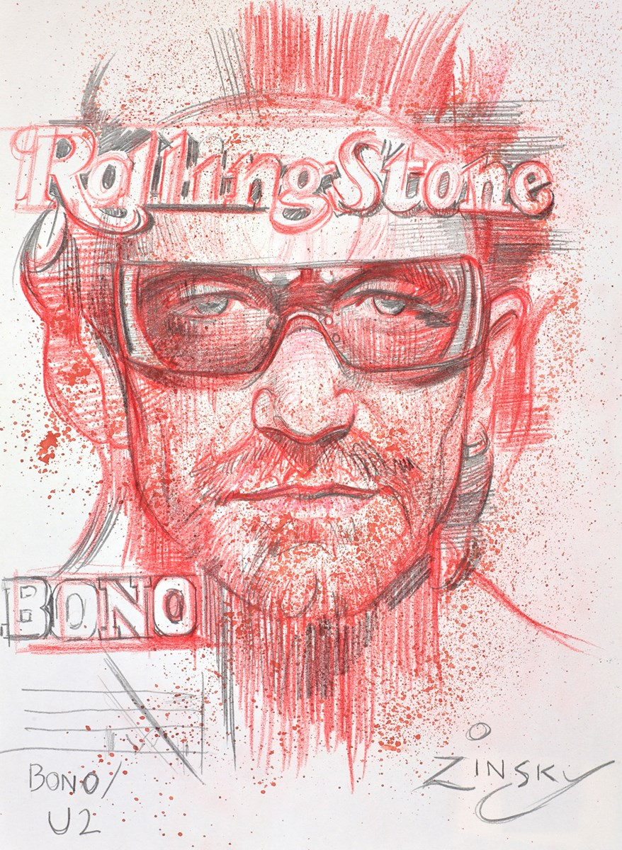 Bono, U2 by zinsky -  sized 8x11 inches. Available from Whitewall Galleries